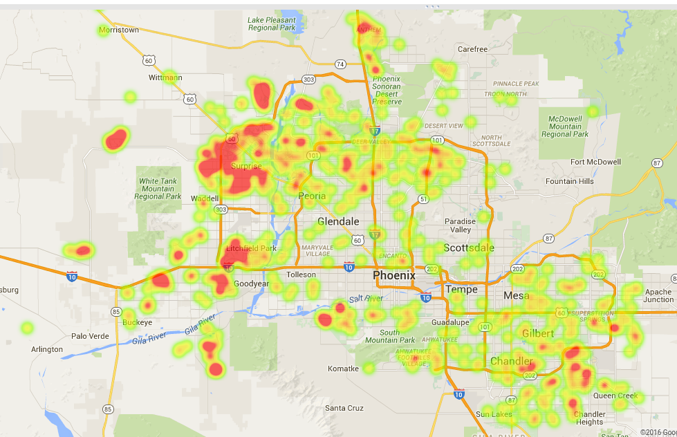 apr15-mar16-solar-sales-heat-map | Phoenix Solar Home Broker